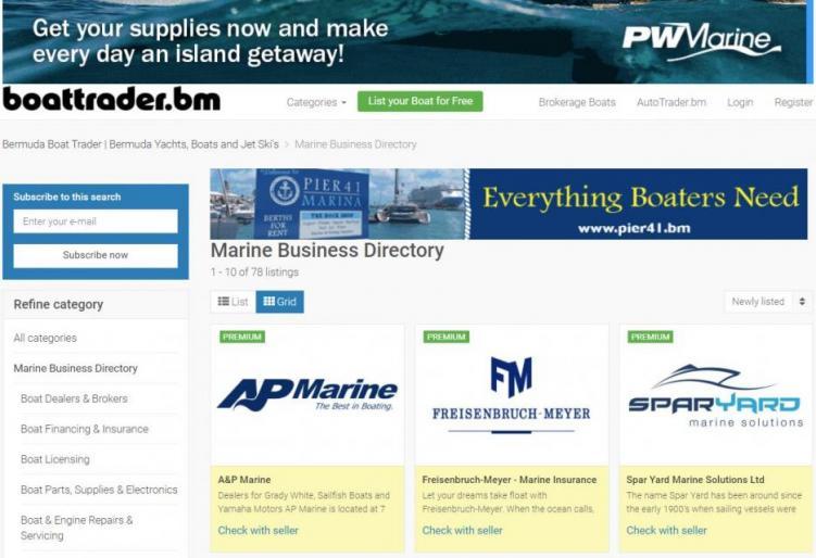 Bermuda Boat Trader Marine Business Directory