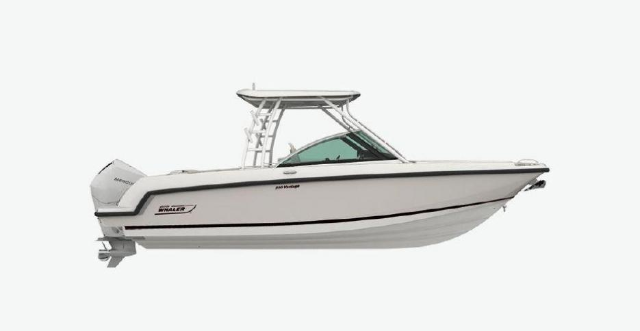 Just Arrived in time to see the Whales! Brand new model Boston Whaler 240 Vantage Dual Console